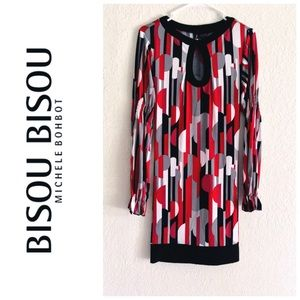 Bisou Bisou red black geometric long sleeve dress